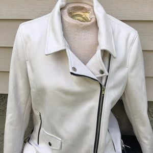 Misguided Sz 8 White Faux Suede Biker Jacket NWT
